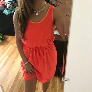 Neon orange Gap tie front dress